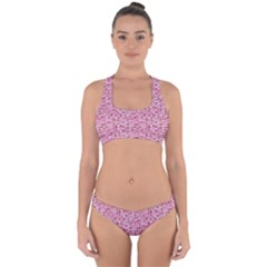Abstract Pink Squares Cross Back Hipster Bikini Set