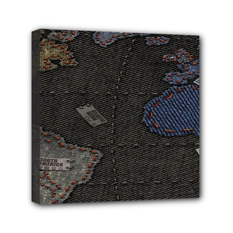 World Map Mini Canvas 6  X 6