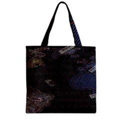 World Map Zipper Grocery Tote Bag