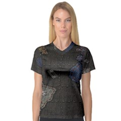 World Map Women s V Neck Sport Mesh Tee