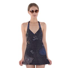 World Map Halter Swimsuit Dress