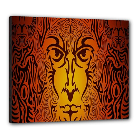 Lion Man Tribal Canvas 24  X 20  by BangZart