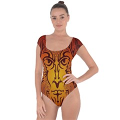 Lion Man Tribal Short Sleeve Leotard  by BangZart