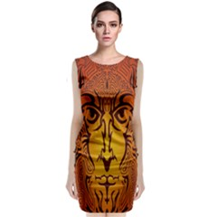 Lion Man Tribal Sleeveless Velvet Midi Dress