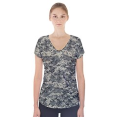 Us Army Digital Camouflage Pattern Short Sleeve Front Detail Top