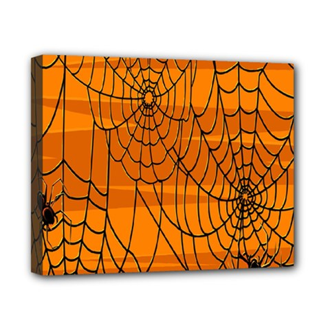 Vector Seamless Pattern With Spider Web On Orange Canvas 10  X 8  by BangZart