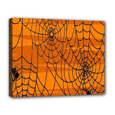 Vector Seamless Pattern With Spider Web On Orange Canvas 14  X 11  by BangZart