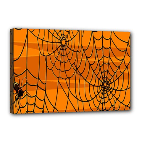 Vector Seamless Pattern With Spider Web On Orange Canvas 18  X 12