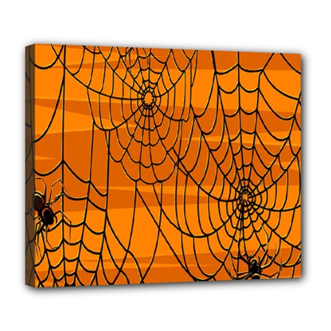 Vector Seamless Pattern With Spider Web On Orange Deluxe Canvas 24  X 20