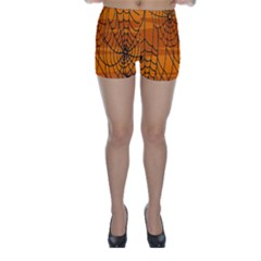 Vector Seamless Pattern With Spider Web On Orange Skinny Shorts