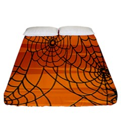 Vector Seamless Pattern With Spider Web On Orange Fitted Sheet (california King Size) by BangZart