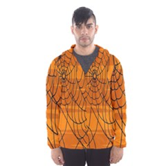 Vector Seamless Pattern With Spider Web On Orange Hooded Wind Breaker (men)