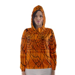 Vector Seamless Pattern With Spider Web On Orange Hooded Wind Breaker (women)