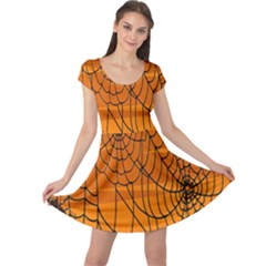 Vector Seamless Pattern With Spider Web On Orange Cap Sleeve Dresses