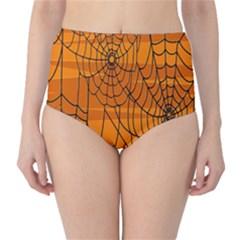 Vector Seamless Pattern With Spider Web On Orange High Waist Bikini Bottoms