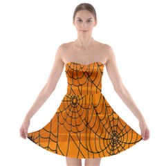 Vector Seamless Pattern With Spider Web On Orange Strapless Bra Top Dress