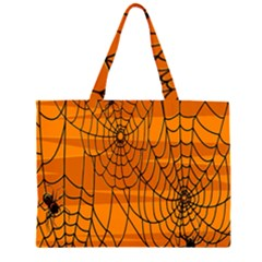 Vector Seamless Pattern With Spider Web On Orange Zipper Large Tote Bag