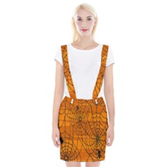 Vector Seamless Pattern With Spider Web On Orange Braces Suspender Skirt