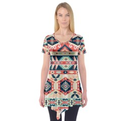Aztec Pattern Copy Short Sleeve Tunic