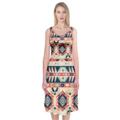 Aztec Pattern Copy Midi Sleeveless Dress