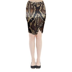 Snake Skin O Lay Midi Wrap Pencil Skirt