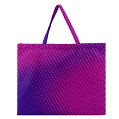 Purple Pink Dots Zipper Large Tote Bag