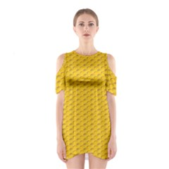 Yellow Dots Pattern Shoulder Cutout One Piece