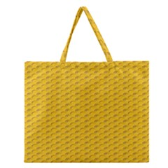 Yellow Dots Pattern Zipper Large Tote Bag by BangZart