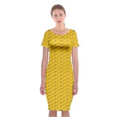 Yellow Dots Pattern Classic Short Sleeve Midi Dress