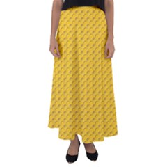 Yellow Dots Pattern Flared Maxi Skirt