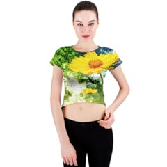 Yellow Flowers Crew Neck Crop Top