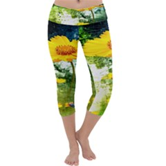Yellow Flowers Capri Yoga Leggings