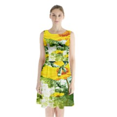 Yellow Flowers Sleeveless Waist Tie Chiffon Dress