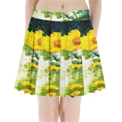 Yellow Flowers Pleated Mini Skirt by BangZart