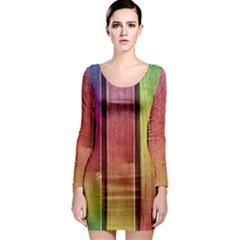 Colourful Wood Painting Long Sleeve Bodycon Dress