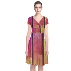 Colourful Wood Painting Short Sleeve Front Wrap Dress
