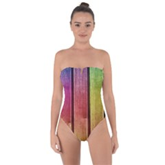 Colourful Wood Painting Tie Back One Piece Swimsuit