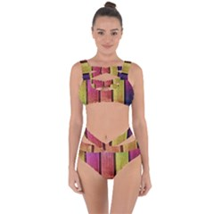 Colourful Wood Painting Bandaged Up Bikini Set