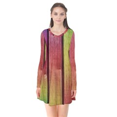 Colourful Wood Painting Flare Dress