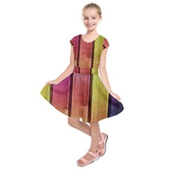 Colourful Wood Painting Kids  Short Sleeve Dress