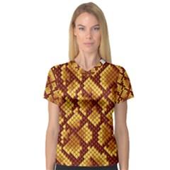 Snake Skin Pattern Vector Women s V Neck Sport Mesh Tee
