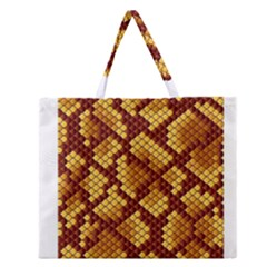 Snake Skin Pattern Vector Zipper Large Tote Bag by BangZart