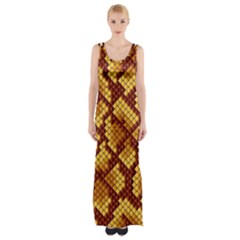 Snake Skin Pattern Vector Maxi Thigh Split Dress