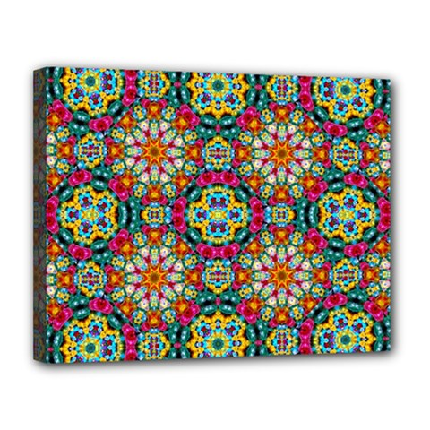 Jewel Tiles Kaleidoscope Canvas 14  X 11  by WolfepawFractals