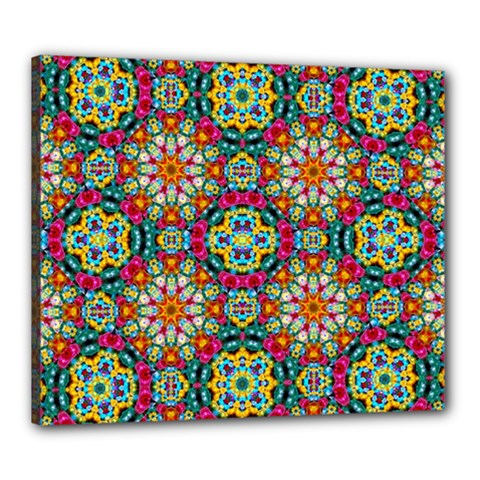 Jewel Tiles Kaleidoscope Canvas 24  X 20  by WolfepawFractals