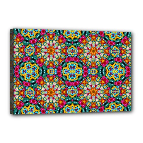 Jewel Tiles Kaleidoscope Canvas 18  X 12  by WolfepawFractals