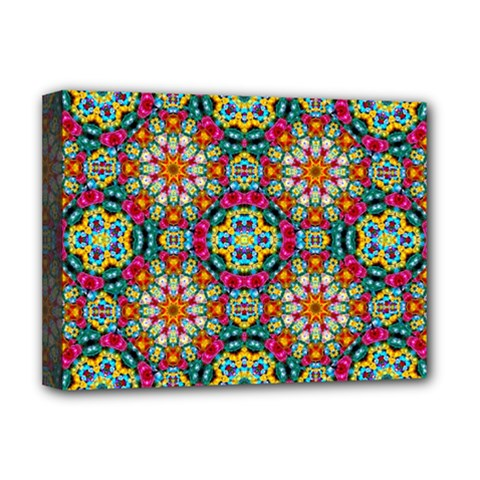 Jewel Tiles Kaleidoscope Deluxe Canvas 16  X 12   by WolfepawFractals