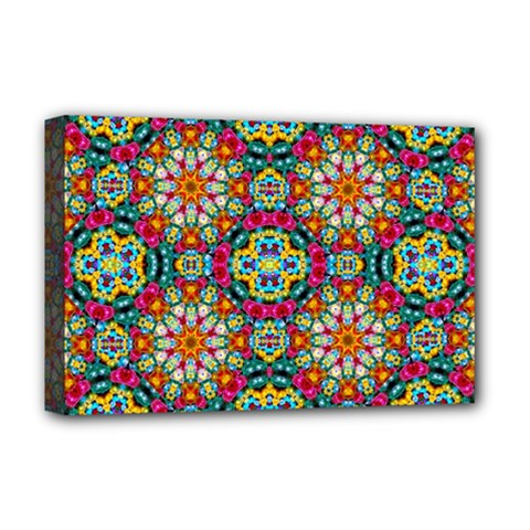 Jewel Tiles Kaleidoscope Deluxe Canvas 18  X 12   by WolfepawFractals