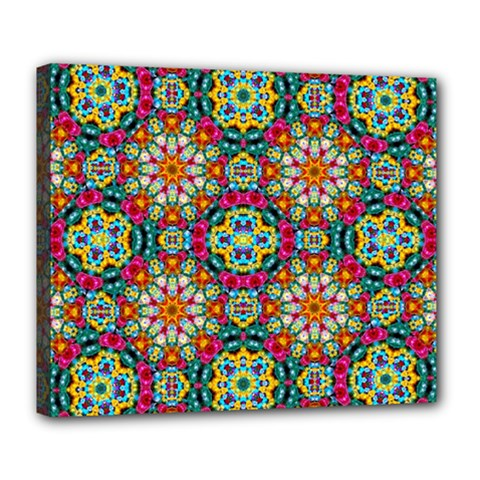 Jewel Tiles Kaleidoscope Deluxe Canvas 24  X 20   by WolfepawFractals