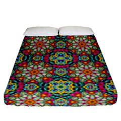 Jewel Tiles Kaleidoscope Fitted Sheet (queen Size) by WolfepawFractals